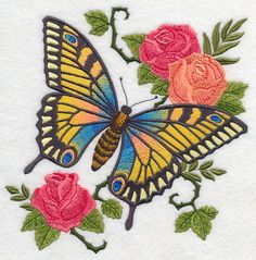 Jane's Butterfly with Roses design (M6913) from www.Emblibrary.com