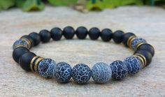 Mens Gemstone Bracelet Men's Jewelry Men Healing Stretch Mala Bracelet Matte… #jewelryformen
