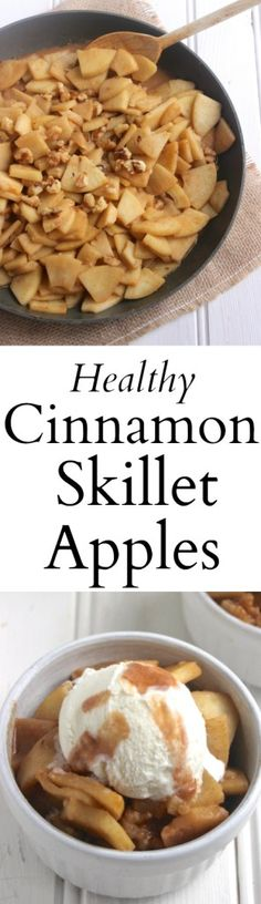 healthy apple dessert (no butter or sugar added!) that takes just one skillet. Serve with natural vanilla ice cream for a healthier treat! Healthy Apple Desserts, Apple Recipes, Healthy Desserts, Healthy Cooking, Cooking Recipes, Healthy Recipes, Cooking Tips, Fast Recipes, Baked Apples Healthy