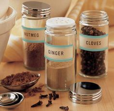 Bring visual harmony to assorted spices by transferring them to plain jars and tagging the containers with Martha Stewart's self-adhesive labels. Your upgraded collection will be attractive and easier to scan -- no more mistaking the cumin for cinnamon! Spice Jar Labels, Spice Jars, Spice Containers, Spice Mixes, Herb Labels, Spice Bottles, Martha Stewart Crafts, Pantry Storage, Spice Storage