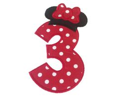 Minnie Mouse Hat Applique Birthday Numbers Machine Embroidery Design - 4 Sizes $3.95