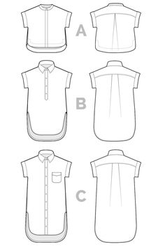 Kalle Shirt + Shirt-Dress Pattern // Technical Flats // Closet Case Patterns