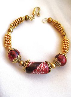 5.00 Off for a limited time!  Red Clay Bead Gold Wire Wrapped Bracelet by SarahsArtisanJewelry, $35.00