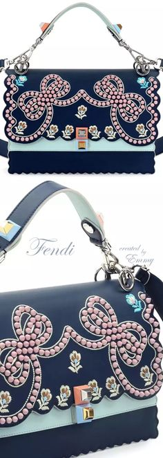 Brilliant Luxury♦Fendi Candy Colours Spring 2017♦Kan I Studded Bows Top-Handle Shoulder Bag #blue