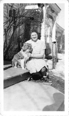 Black and White Vintage Snapshot Photograph Woman Hugging Dog Porch 1950'S | eBay
