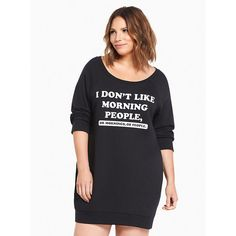 Torrid Sleep Morning People Tunic Sweatshirt (€42) ❤ liked on Polyvore featuring tops, oversized plus size tops, graphic tops, plus size tops, women's plus size tops and white tops