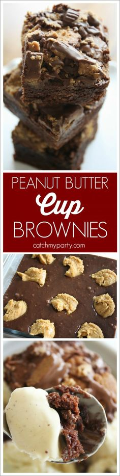 Easy Reese's Peanut Butter Cup Brownie Recipe. Delicious and fast! | CatchMyParty.com