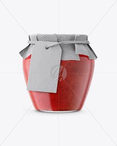Glass Strawberry Marmalade Jam Jar with Fabric Cap and Label Mockup