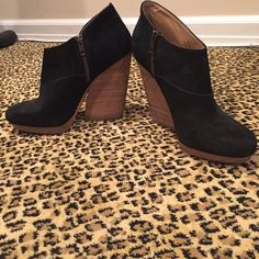 BLACK AND WOOD WEDGE BOOTIE SZ 9 Black suede booties with designer (Celine) wood heel. Purchased at Saks Fifth Avenue. Brand is GRAY Saks Fifth Avenue. Worn only a few times. Shoes Ankle Boots & Booties