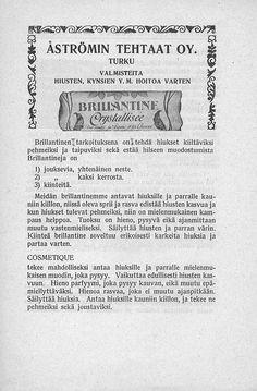 Valmisteita hiusten, kynsien y.m. hoitoa varten, Turku 01.06.1920 - Pienpainatteet - Digitoidut aineistot - Kansalliskirjasto