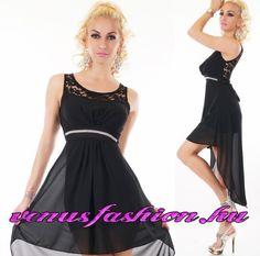 Elegáns alkalmi fekete csipkés sifon női ruha