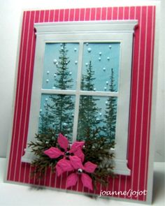 handmade Christmas card from The Inky Ocean Gazer ... die cut window frame ... luv the die cut poinsettias as decoration ... Stampin' Up!