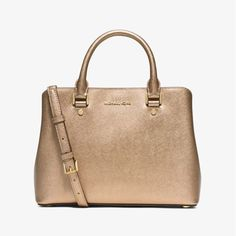 3c48c5111249ae MICHAEL Michael Kors Savannah Medium Saffiano Leather Satchel Gold Michael  Kors Satchel