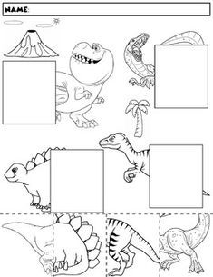 Color, cut, and match the dinosaur halves. Package includes five no prep worksheets. Great for working on those visual discrimination skills. Dinosaur Worksheets, Dinosaur Theme Preschool, Dinosaur Activities, Dinosaur Crafts, Preschool Learning Activities, Preschool Kindergarten, Preschool Worksheets, Kids Learning, Maternelle Grande Section