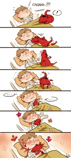 ♥  This is really cute!  I want a dragon to warm my chest when I'm sick and wheezy.  Actually, I'd just like a dragon.