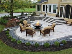 stairs, firepit, paver patio with travertine, Back Yards, Patio #LandscapeEdging