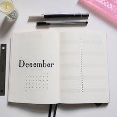 Bullet journal monthly layout, minimalist bullet journal monthly layouts, bullet journal monthly calendar, linear calendar, vertical calendar. @beckasaurusblog