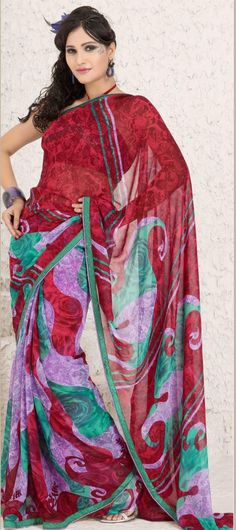 $23.46 Red And Purple Faux Georgette Saree 7208