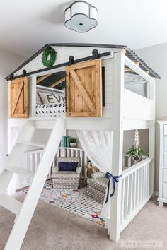 How to build a DIY sliding barn door loft bed. #DIYslidingbarndoor #diyprojects #diyideas #diyinspiration #diycrafts #diytutorial Kids Cabin Beds, Diy Cabin Bed, Kids Beds Diy, Diy Bed, Cool Beds For Kids, Bedroom Loft, Bedroom Decor, Bedroom Lamps, Bedroom Lighting