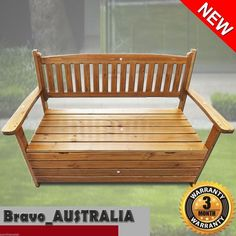 Park Bench Timber Wooden Garden Seat Patio Outdoor Chair storage box Wood