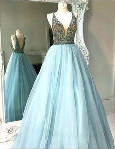 Modern A Line Prom Dress - V Neck Sleeveless Floor Length Backless with Beading