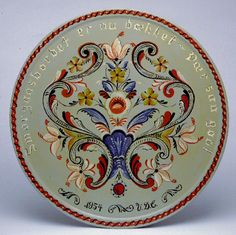 rosemaling | rosemaling artist rosemaling a plate wisconsin folk museum collection