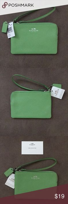 COACH WRISTLET BRAND NEW - AUTHENTIC PRODUCT  COACH WRISTLET NEW WITH TAGS ATTACHED  COLOR:  PISTACHIO  SIZE:  STANDARD WRISTLET 4X6   ZIP TOP OPEN/CLOSURE  SMALL INNER POCKET TO HOLD ID/CC  COACH CARE CARD INCLUDED Coach Bags Clutches & Wristlets