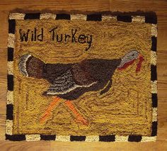 "PRIMITIVE FOLK WOOL HOOKED RUG / WILD TURKEY.It measures approximately 22"" x 26"", and is backed with distressed cotton flannel fabric. There is a label on the back that is signed and dated by me. It would look great displayed on a wall, or on a table The possibilities are endless in your decor. {{sold on ebay $145.00}}"