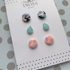 Set of 3 multi pack studs / earring gift pack / earring set / stud earring set / 3 pack stud earrings Polymer Clay Charms, Polymer Clay Earrings, Diy Resin Stud Earrings, Diy Resin Crafts, Biscuit, Clay Creations, Diy Jewelry, Jewellery, Craft Gifts