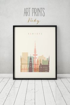 Hamburg-Print Wandkunst Poster Reisen Skyline von ArtPrintsVicky