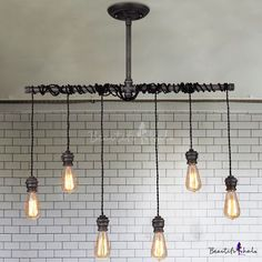 6 Lights Natural Iron 35'' Wide Hanging Pipe Multi Light Pendant - Beautifulhalo.com