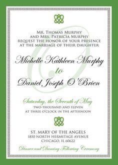 Irish Celtic Inspired Wedding Invitation Suite. by MyBigDayDesigns