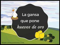 La gansa que pone huevos de oro, a fable retold in novice-low Spanish