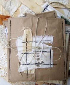 I love these machine stitched fabric and lace kraft paper gift bags!