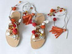Gladiator Sandals/Lace up sandals/pompom sandals