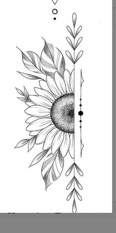 Art Drawings Sketches Simple, Cute Easy Drawings, Flower Sketches, Pencil Art Drawings, Tattoo Drawings, Music Drawings, Tattoo Sketches, Flower Pattern Drawing, Floral Drawing