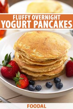 Skip a trip to the diner with homemade yogurt overnight pancakes. Perfectly fluffy, every maple-syrup-drenched bite melts in your mouth. Yogurt Recipes, Waffle Recipes, Banana Bread Recipes, Brunch Recipes, Breakfast Recipes, Crepe Recipes, Oven Recipes, Easy Recipes, Vegan Meal Prep