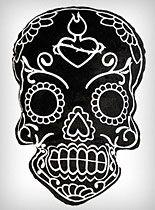 Black Soft Sugar Skull Pillow at PLASTICLAND