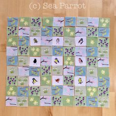 7. Lay out the spring fabric pieces