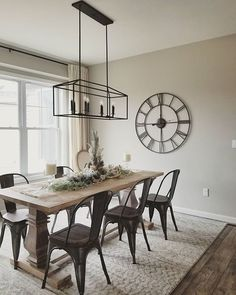 I don't think I've shared our dining room chandelier since we've lowered it but I think it looks so much better! Dining Room Remodel, Repose Gray, Dining Room Lighting, Dining, Farmhouse Dining Room, Farmhouse Kitchen Lighting, Living Room Grey, Modern Farmhouse Kitchens, Dining Room Chandelier