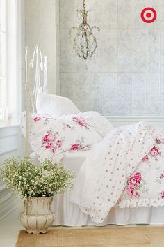 Classic elegance comes in the form of this rose-print Simply Shabby Chic bedding set. The mix of crisp white sheets and floral will transform your bedroom into a serene sanctuary, and placing a bouquet of flowers in a vintage vase near the bed is a sweet finishing touch.
