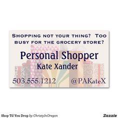 Shop Til You Drop Double-Sided Standard Business Cards (Pack Of 100)
