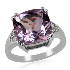 Cushion Pink Amethyst White Topaz Sterling Silver Ring Valentine Gift Jewelry #Unbranded #SolitairewithAccents #ValentinesDay