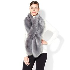 """This lux piece in on my wish list!  Comes in other rich colors - you want to have some contrast near your face - warmth and elegance plus its faux fur."" Traci   IMAN Platinum Collection Luxurious 66"" Faux Fur Stole"