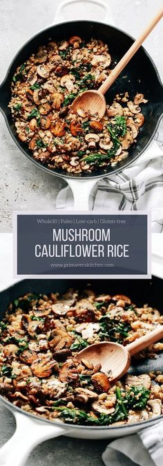 Mushroom Cauliflower Rice Skillet This Mushroom Cauliflower Rice Skillet is a delicious low-carb paleo and vegan/vegetarian main dish for dinner. And its done in only 20 minutes. The post Mushroom Cauliflower Rice Skillet appeared first on Gesundheit. Healthy Rice Recipes, Low Carb Recipes, Whole Food Recipes, Cooking Recipes, Low Carb Vegetarian Recipes, Paleo Meals, Kitchen Recipes, Meatless Whole 30 Recipes, Paleo Recipes Dinner Chicken