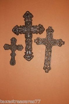 (3), Veneto Trio, Crosses, Cast Iron, Metal Decor, Christianity,Biblical History