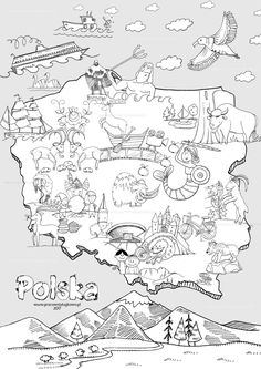 Mapa Polski Do Kolorowania | Mapa Montessori, Education, Children, Europe, Poland, Projects, Young Children, Boys, Kids