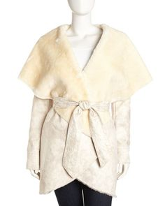 HIDE SOCIETY Genuine Shearling Coat with Genuine Mink Trim