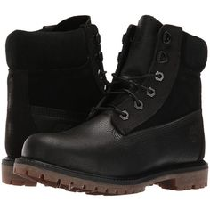 Timberland 6 Premium D Ring (Black) Women's Shoes (1 040 ZAR) ❤ liked on Polyvore featuring shoes, athletic shoes, black, black shoes, waterproof rubber shoes, small heel shoes, black laced shoes and grip shoes