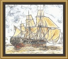 (10) Name: 'Embroidery : Sailing Ship Sketch Cross Stitch